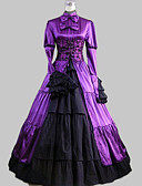 billige Brudesjaler-Klassisk Lolita Aristokrat Lolita Satin Dame Kjoler Cosplay Langermet Ankellang Halloween-kostymer