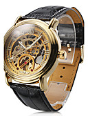 abordables Correa de acero inoxidable-WINNER Hombre Reloj de Pulsera / El reloj mecánico Huecograbado PU Banda Negro / Cuerda Automática