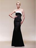 billige Aftenkjoler-Havfrue Stropløs Gulvlang Satin Åben ryg / Berømmelse stil Formel aften Kjole med Plissé ved TS Couture®