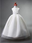 Χαμηλού Κόστους Λουλουδάτα φορέματα για κορίτσια-Βραδινή τουαλέτα Μακρύ Φόρεμα για Κοριτσάκι Λουλουδιών - Σατέν / Τούλι Αμάνικο Λουριά με Χάντρες / Διακοσμητικά Επιράμματα / Που καλύπτει με LAN TING BRIDE® / Άνοιξη / Καλοκαίρι / Φθινόπωρο