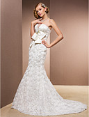 cheap Wedding Dresses-Mermaid / Trumpet Strapless Court Train Lace Over Satin Made-To-Measure Wedding Dresses with Bowknot / Beading / Flower by LAN TING BRIDE®