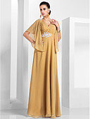 cheap Evening Dresses-A-Line V Neck Floor Length Chiffon Formal Evening Dress with Appliques / Ruched by TS Couture®