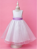 cheap Flower Girl Dresses-A-Line / Princess Floor Length Flower Girl Dress - Organza / Satin Sleeveless Jewel Neck with Buttons / Draping / Sash / Ribbon by LAN TING BRIDE® / Spring / Fall / Winter / Wedding Party
