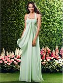 hesapli Çiçekçi Kız Elbiseleri-Sütun Boyundan Bağlamalı / Kalp Yaka Yere Kadar Şifon Haç ile Nedime Elbisesi tarafından LAN TING BRIDE® / Açık Sırtlı