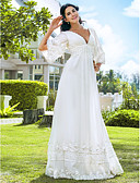 cheap Wedding Dresses-A-Line Plunging Neck Floor Length Chiffon Made-To-Measure Wedding Dresses with Beading by LAN TING BRIDE® / Illusion Sleeve