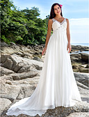 cheap Evening Dresses-A-Line V Neck Chapel Train Chiffon Made-To-Measure Wedding Dresses with Beading / Sequin by LAN TING BRIDE® / See-Through