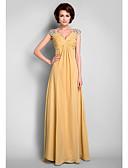 cheap Mother of the Bride Dresses-A-Line V Neck Floor Length Chiffon Mother of the Bride Dress with Beading / Draping / Criss Cross by LAN TING BRIDE®