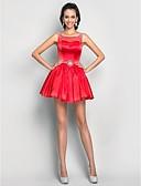 baratos Vestidos de Coquetel-Linha A Ilusão Decote Curto / Mini Tule / Charmeuse Coquetel Vestido com Miçangas / Detalhes em Cristal / Pregueado de TS Couture®