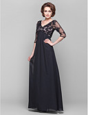 cheap Mother of the Bride Dresses-A-Line V Neck Floor Length Chiffon / Sheer Lace Mother of the Bride Dress with Beading / Lace / Side Draping by LAN TING BRIDE® / Illusion Sleeve / See Through