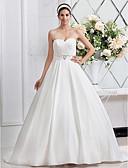hesapli Balo Elbiseleri-A-Şekilli / Prenses Kalp Yaka Süpürge / Fırça Kuyruk Saten Boncuklama / Kurdeleler / Kırma Dantel ile Kıyafetli Gelinlikler tarafından
