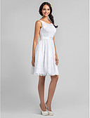 cheap Bridesmaid Dresses-A-Line Scoop Neck Knee Length Lace Bridesmaid Dress with Lace / Sash / Ribbon by LAN TING BRIDE®