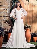 Χαμηλού Κόστους Νυφικά-Γραμμή Α Λαιμόκοψη V Ουρά μέτριου μήκους Σιφόν Φορέματα γάμου φτιαγμένα στο μέτρο με με LAN TING BRIDE®