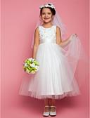 hesapli Çiçekçi Kız Elbiseleri-A-Şekilli Taşlı Yaka Diz Altı Saten / Tül Boncuklama / Aplik / Fiyonk ile Çiçekçi Kız Elbisesi tarafından LAN TING BRIDE®