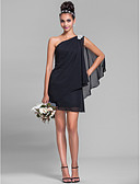 abordables Vestidos de Dama de Honor-Funda / Columna Un Hombro Corta / Mini Raso Vestido de Dama de Honor con Detalles de Cristal / Recogido Lateral por LAN TING BRIDE®