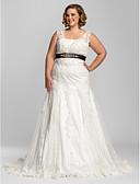 olcso Menyasszonyi ruhák-Sellő fazon Szíj Udvari uszály Csipke Made-to-measure esküvői ruhák val vel Csokor / Gyöngydíszítés / Rátétek által LAN TING BRIDE®