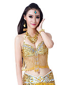 cheap Women's Nightwear-Belly Dance Tops Women's Performance Polyester Appliques Crystals / Rhinestones Tassel Sleeveless Top