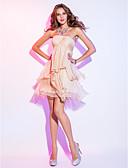 Χαμηλού Κόστους Βραδινά Φορέματα-Γραμμή Α Illusion Seckline Κοντό / Μίνι Σιφόν Ανοικτή Πλάτη / See Through Κοκτέιλ Πάρτι Φόρεμα με Κρυστάλλινη λεπτομέρεια / Με διαδοχικές σούρες με TS Couture®