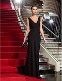 Χαμηλού Κόστους Βραδινά Φορέματα-Ίσια Γραμμή Λαιμόκοψη V Ουρά Ζέρσεϊ Στυλ Διασήμων / Εμπνευσμένο από Βίντατζ Επίσημο Βραδινό Φόρεμα με Χάντρες με TS Couture®
