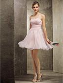 זול שמלות שושבינה-גזרת A לב (סוויטהארט) קצר \ מיני שיפון שמלה לשושבינה  עם אסוף בד בהצלבה על ידי LAN TING BRIDE®