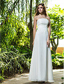 cheap Evening Dresses-Sheath / Column Strapless Floor Length Cotton Made-To-Measure Wedding Dresses with Ruched / Flower by LAN TING BRIDE®