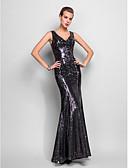 povoljno Večernje haljine-Sirena kroj V izrez Do poda Sa šljokicama Celebrity Style Formalna večer Haljina s Šljokice / Falte po TS Couture®