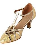 رخيصةأون فساتين الاشبينات-للمرأة أحذية عصرية / صالة الرقص بريّق / جلد كعب كعب مخصص غير مخصص أحذية الرقص فضة / ذهبي