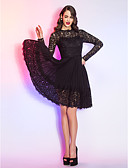 cheap Prom Dresses-A-Line Illusion Neck Knee Length Chiffon / Sheer Lace Little Black Dress Cocktail Party / Prom Dress with Lace / Pleats by TS Couture® / Illusion Sleeve