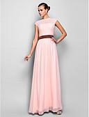 Χαμηλού Κόστους Φορέματα για παρανυφάκια-Γραμμή Α Illusion Seckline Μακρύ Ζορζέτα Χοροεσπερίδα / Επίσημο Βραδινό Φόρεμα με Ζώνη / Κορδέλα / Πλαϊνό ντραπέ με TS Couture®