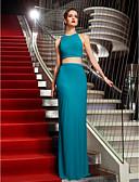 hesapli Balo Elbiseleri-Sütun İki Parça Boyundan Bağlamalı Yere Kadar Jarse Pileler ile Balo / Resmi Akşam / Askeri Balo Elbise tarafından TS Couture®