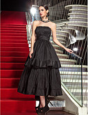 cheap Evening Dresses-A-Line Strapless Tea Length Taffeta Little Black Dress Prom / Formal Evening Dress with Pleats by TS Couture®