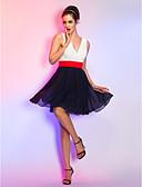 preiswerte Cocktailkleider-A-Linie / Leger & Aufgebauscht V-Ausschnitt Kurz / Mini Chiffon Muster Cocktailparty Kleid mit Schärpe / Band durch TS Couture®