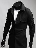 hesapli Erkek Kabanlar-Erkeklerin Sade Günlük Polyester Uzun Kollu Ceket,Siyah / Gri