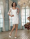 olcso Menyasszonyi ruhák-Szűk szabású Szögletes Rövid / mini Csipke Made-to-measure esküvői ruhák val vel Rátétek által LAN TING BRIDE® / Kis fehér szoknyák