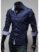 cheap Men's Shirts-Men's Cotton Shirt - Solid Colored / Color Block Dark Blue XL / Long Sleeve