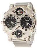 זול תחתוני גברים אקזוטיים-בגדי ריקוד גברים שעונים צבאיים / שעון יד אזור זמן כפול מתכת אל חלד להקה קסם כסף / שנתיים / סוקסי SR626SW