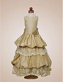 Χαμηλού Κόστους Λουλουδάτα φορέματα για κορίτσια-Γραμμή Α / Πριγκίπισσα Μακρύ Φόρεμα για Κοριτσάκι Λουλουδιών - Δαντέλα Αμάνικο Με Κόσμημα με Χάντρες / Που καλύπτει / Δαντέλα με LAN TING BRIDE® / Άνοιξη / Φθινόπωρο / Χειμώνας / Γαμήλιο Πάρτι