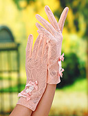 cheap Women's Pants-Lace Wrist Length Glove Bridal Gloves / Party / Evening Gloves / General Purposes & Work Gloves With Bowknot