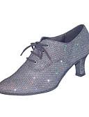 hesapli Gelin Şalları-Kadın's Modern Dans Ayakkabıları / Balo / Egzersiz Ayakkabıları Yapay Deri Sandaletler Kalın Topuk Kişiselleştirilmiş Dans Ayakkabıları Gri