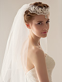 cheap Wedding Veils-Two-tier Wedding Veil Fingertip Veils Headpieces with Veil 53 47.24 in (120cm) Tulle A-line, Ball Gown, Princess, Sheath/ Column,