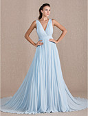 cheap Evening Dresses-A-Line V Neck Chapel Train Georgette Formal Evening Dress with Pleats by TS Couture®