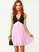זול שמלות נשים-מעל הברך קפלים, קולור בלוק - שמלה גזרת A בגדי ריקוד נשים