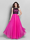 cheap Prom Dresses-Sheath / Column Illusion Neck Floor Length Chiffon / Lace Vintage Inspired / Keyhole Prom / Formal Evening Dress with Lace by TS Couture®