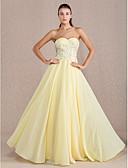 זול שמלות נשף-מעטפת \ עמוד לב (סוויטהארט) עד הריצפה שיפון גב פתוח נשף רקודים / ערב רישמי שמלה עם חרוזים / אפליקציות / בד בהצלבה על ידי TS Couture®