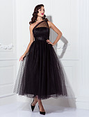 cheap Evening Dresses-A-Line One Shoulder Ankle Length Tulle Little Black Dress / See Through / Vintage Inspired Cocktail Party / Formal Evening Dress with Sash / Ribbon / Pleats by TS Couture®