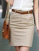 baratos Saias Femininas-Mulheres Casual Trabalho Lápis Saias - Sólido Cintura Alta / Primavera / Verão / Outono / Delgado