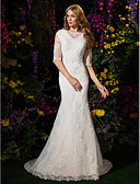 cheap Wedding Dresses-Mermaid / Trumpet Bateau Neck Court Train Lace / Tulle Made-To-Measure Wedding Dresses with Beading / Appliques by LAN TING BRIDE® / Illusion Sleeve / See-Through