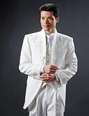 お買い得  タキシード-タキシード スリムフィット スタンダードフィット カラー ピークドラペル スタンドカラー 1つボタン シングルブレスト 一つボタン コットン ポリエステル ウール&ポリエステルブレンド ソリッド ファッション
