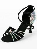 זול שמלות נשים-בגדי ריקוד נשים נעליים לטיניות / ריקודים סלוניים סטן סנדלים ריינסטון עקב רחב ללא התאמה אישית נעלי ריקוד שחור / סוויד