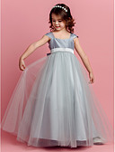 cheap Junior Bridesmaid Dresses-Ball Gown Floor Length Flower Girl Dress - Taffeta / Tulle Short Sleeve Square Neck with Bow(s) / Sash / Ribbon by LAN TING BRIDE® / Spring / Summer / Fall
