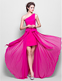 cheap Evening Dresses-Sheath / Column One Shoulder Floor Length Chiffon Bridesmaid Dress with Bow(s) by LAN TING BRIDE®